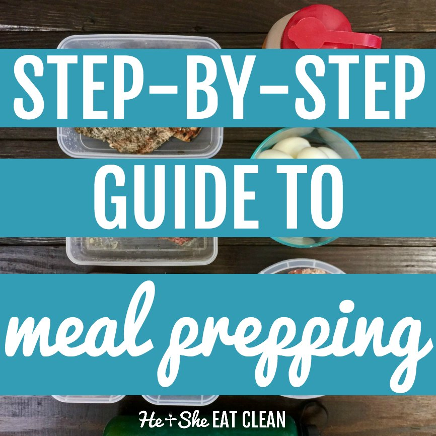 text reads step-by-step guide to meal prepping