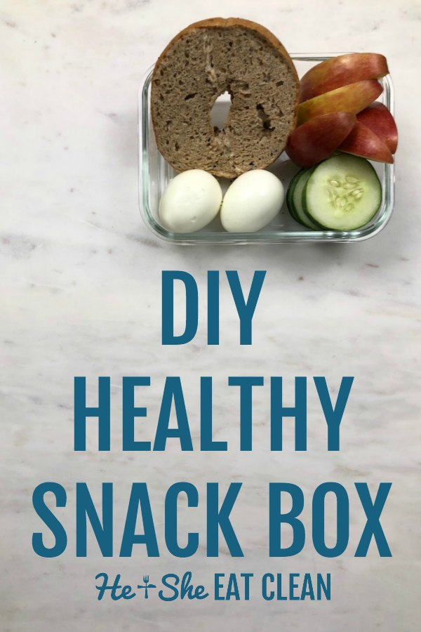 snack box with text that reads DIY healthy snack box with eggs and a bagel