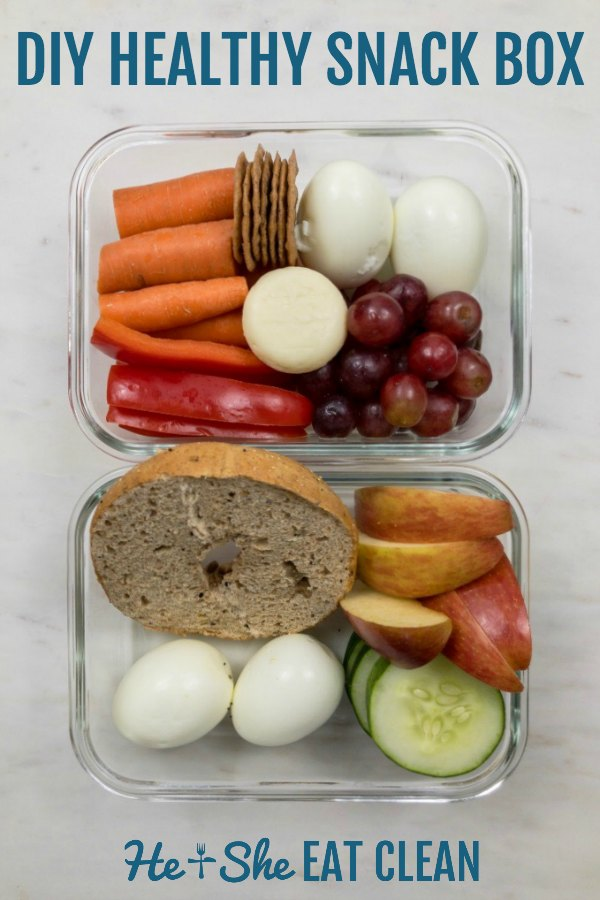 snack box with text that reads DIY healthy snack box