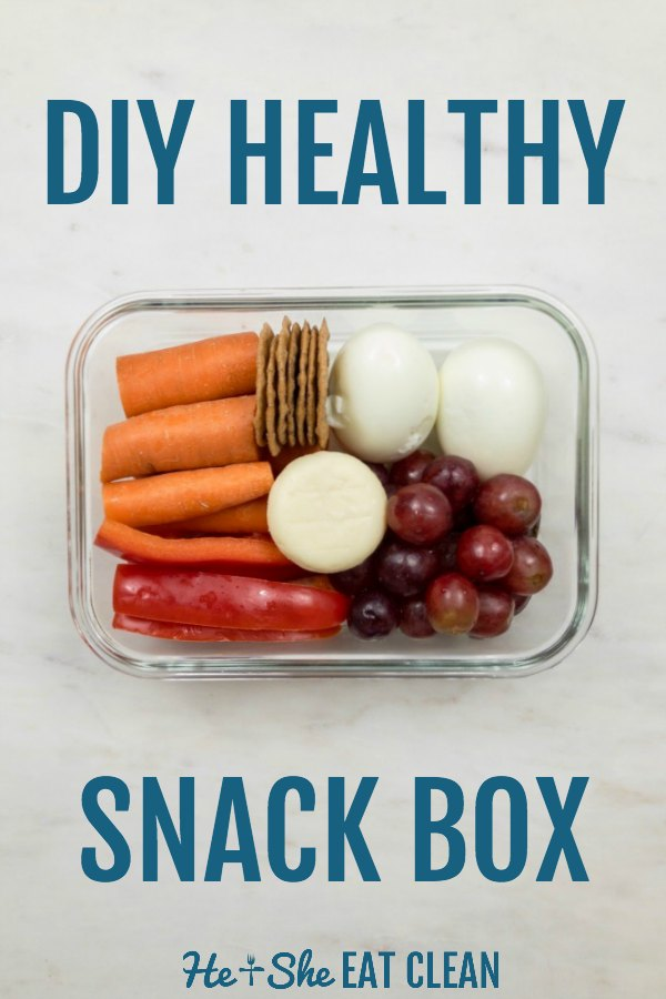 snack box with text that reads DIY healthy snack box with eggs, grapes, carrots, peppers, crackers, and cheese