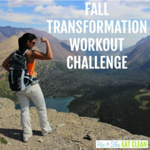 female flexing on a mountain with text that reads fall transformation workout challenge