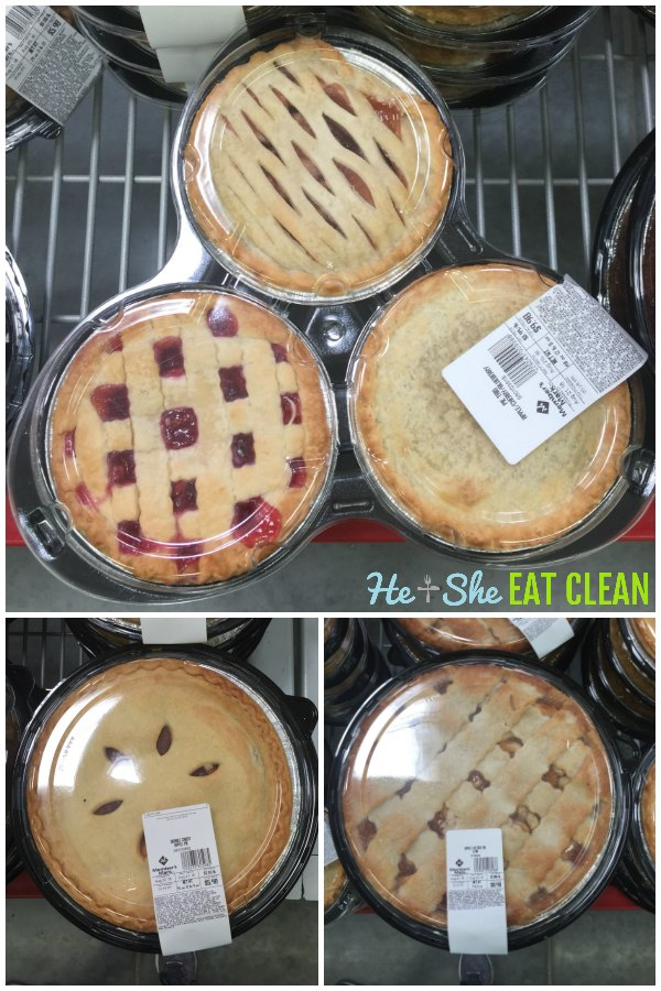 collage of pictures of Sam's Club apple pies, cherry pies, blueberry pies
