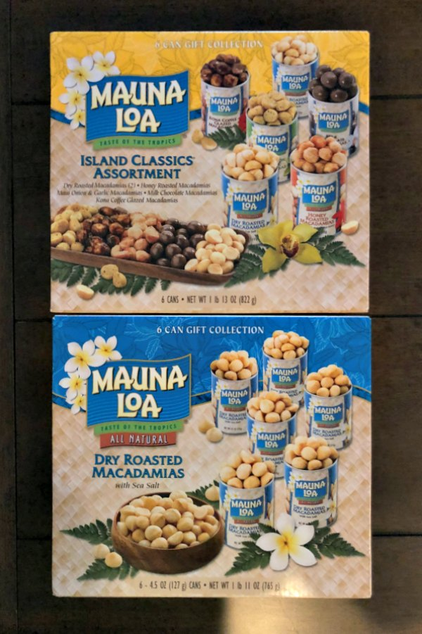 picture of two Mauna Loa 6 Tin Macadamia Nut Gift Sets from Costco in Kauai, Hawaii