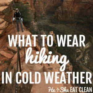 woman on Angel's Landing in Zion National Park with text that reads what to wear hiking in cold weather