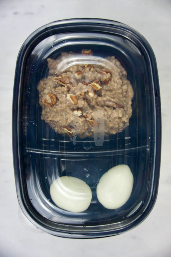 meal prep containers with eggs and oats