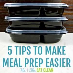 text reads 5 tips to make meal prep easier