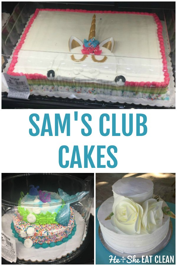 collage of pictures of Sam's Club cakes with text that reads Sam's Club Cakes