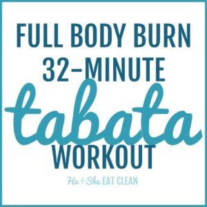 text reads Full Body Burn 32-Minute Tabata Workout