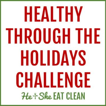 text reads Healthy Through the Holidays Challenge