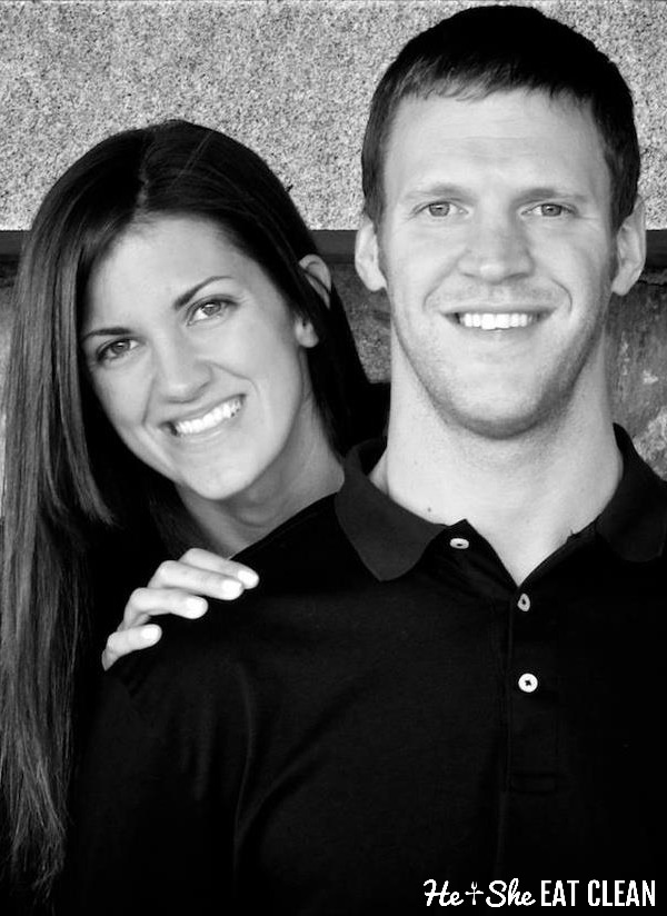male and female black and white photo Scott and Whitney Carlson from He and She Eat Clean