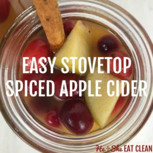 overhead view of spiced apple cider with cinnamon stick and text that reads easy stovetop spiced apple cider