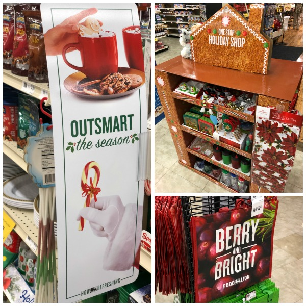 photos from inside a Food Lion with text that reads Outsmart the Holiday Season with Food Lion
