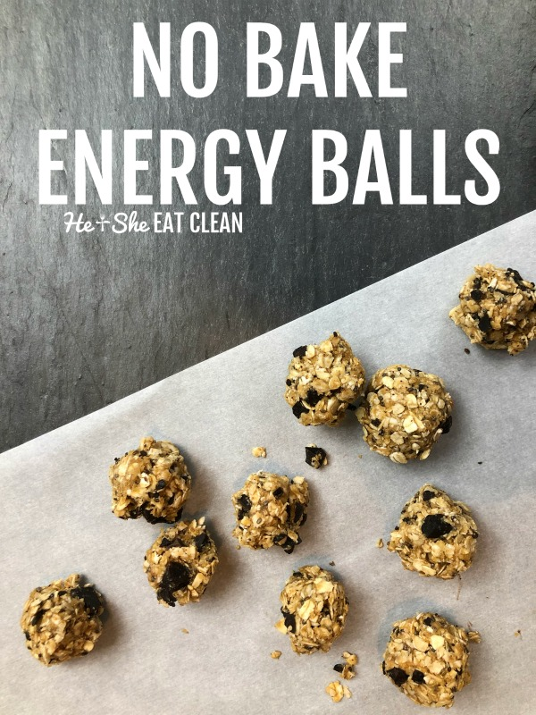 no bake energy balls on parchment paper on slate