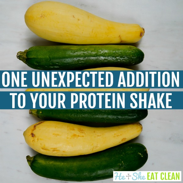 squash and zucchini with text that reads one unexpected addition to your protein shake