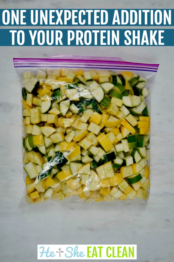 squash and zucchini cubed in a Ziploc bag with text that reads one unexpected addition to your protein shake