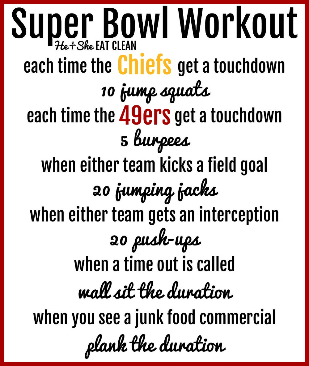 text reads super bowl workout - has a workout listed for the chiefs and 49ers