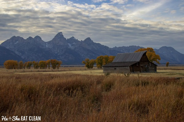 barn in front of the Grand Teton Mountain Range