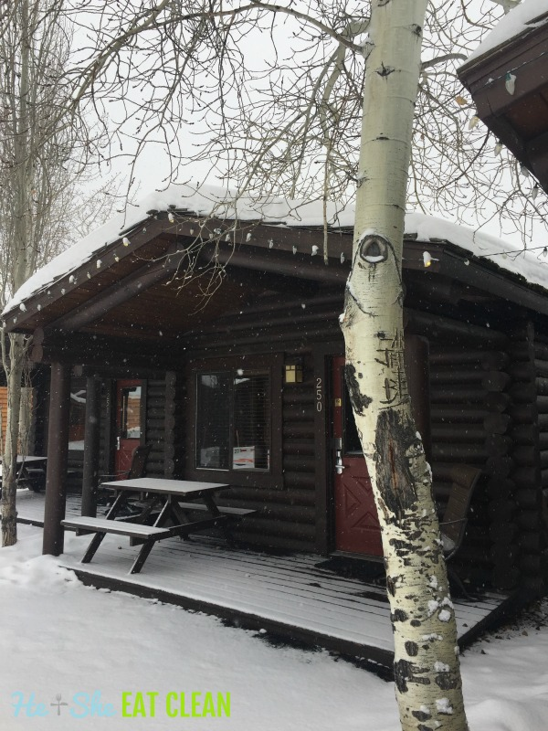 dark wood cabin covered in show in Jackson, Wyoming