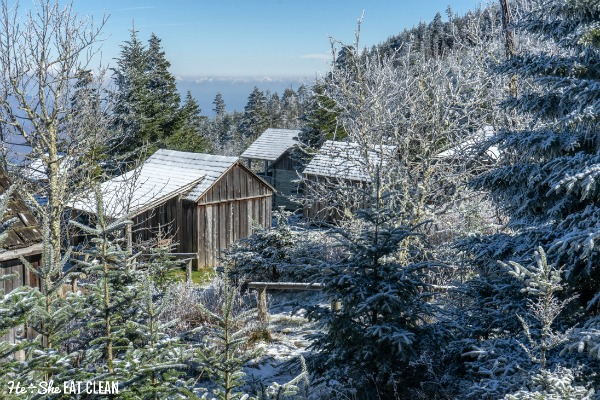 Mount LeConte cabins in Great Smoky Mountains National Park covered in snow