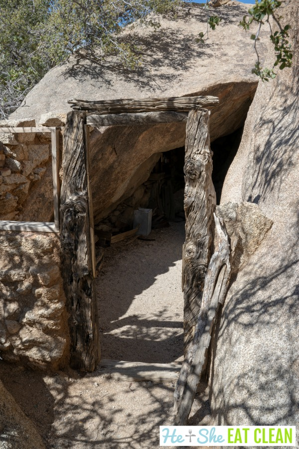 entrance to an old abandoned mine in Joshua Tree National Park on the Eagle Cliff Mine Trail