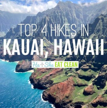 Bright blue ocean with text that reads top 4 hikes in Kauai, Hawaii. Photo of the Na Pali Coast square image