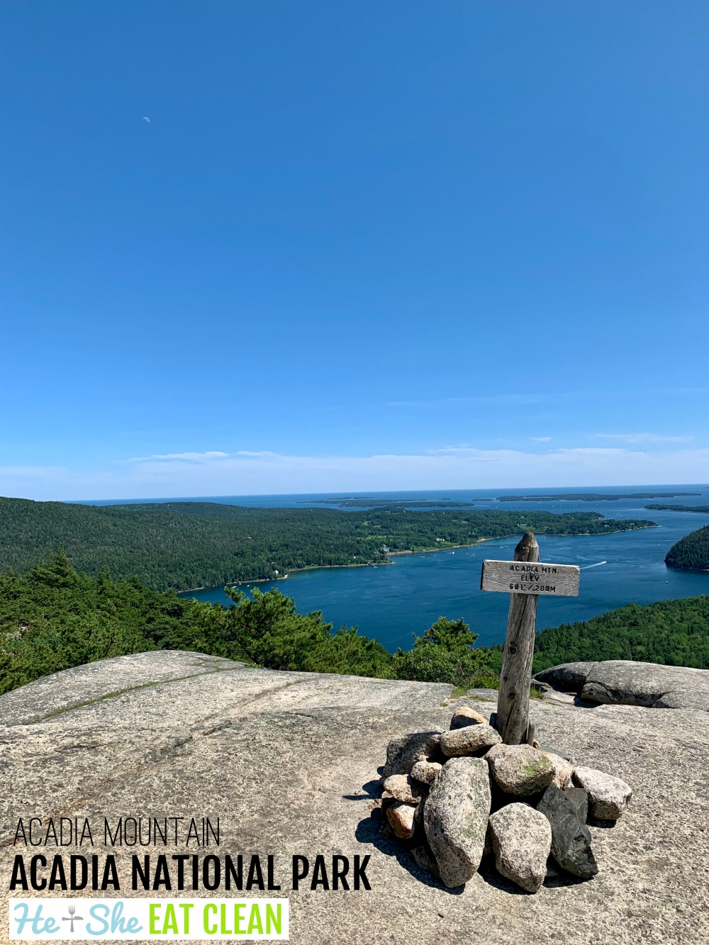 landscape photo of the summit of Acadia Mountain in Acadia National Park with the ocean in the background