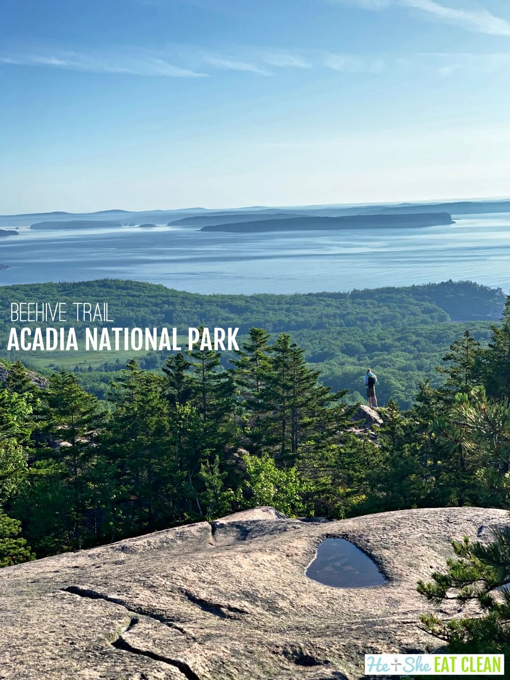 landscape photo from the summit of Beehive Trail in Acadia National Park, granite rock with ocean and trees in the background
