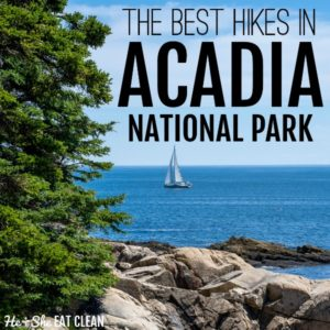 square image of the rocky shoreline of the ocean with a sailboat in the distance. Text reads best hikes in Acadia National Park
