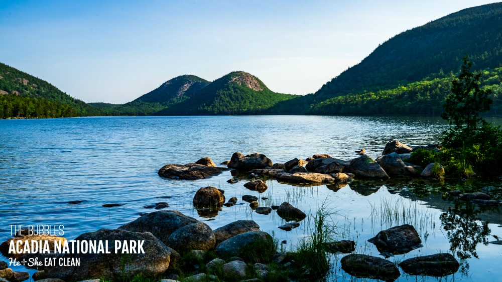landscape photo of The Bubbles (two mountains) in Acadia National Park with Jordan Pond in the front