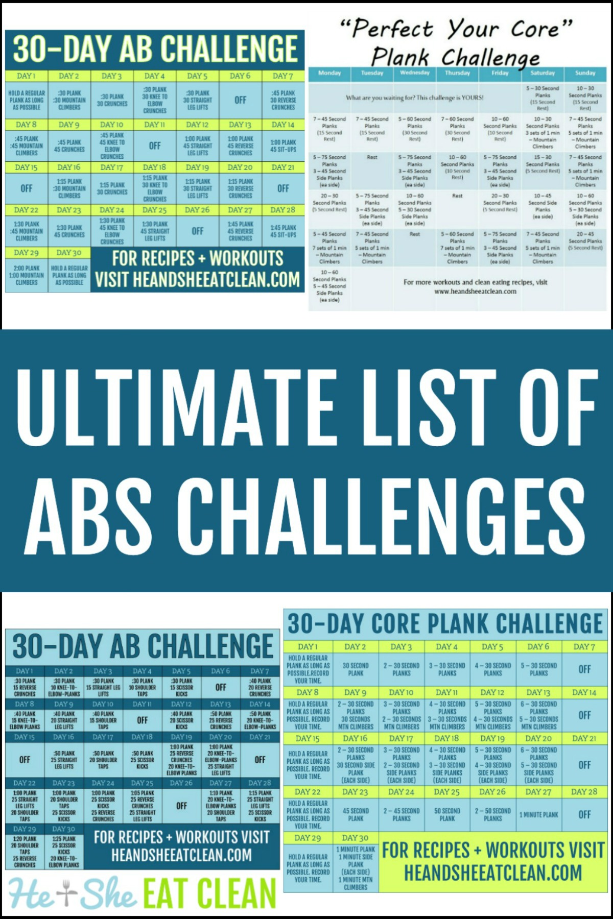 collage of ab fitness challenge calendars