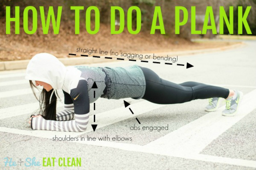 woman in workout clothes doing a plank with text that reads how to do a plank with instructions