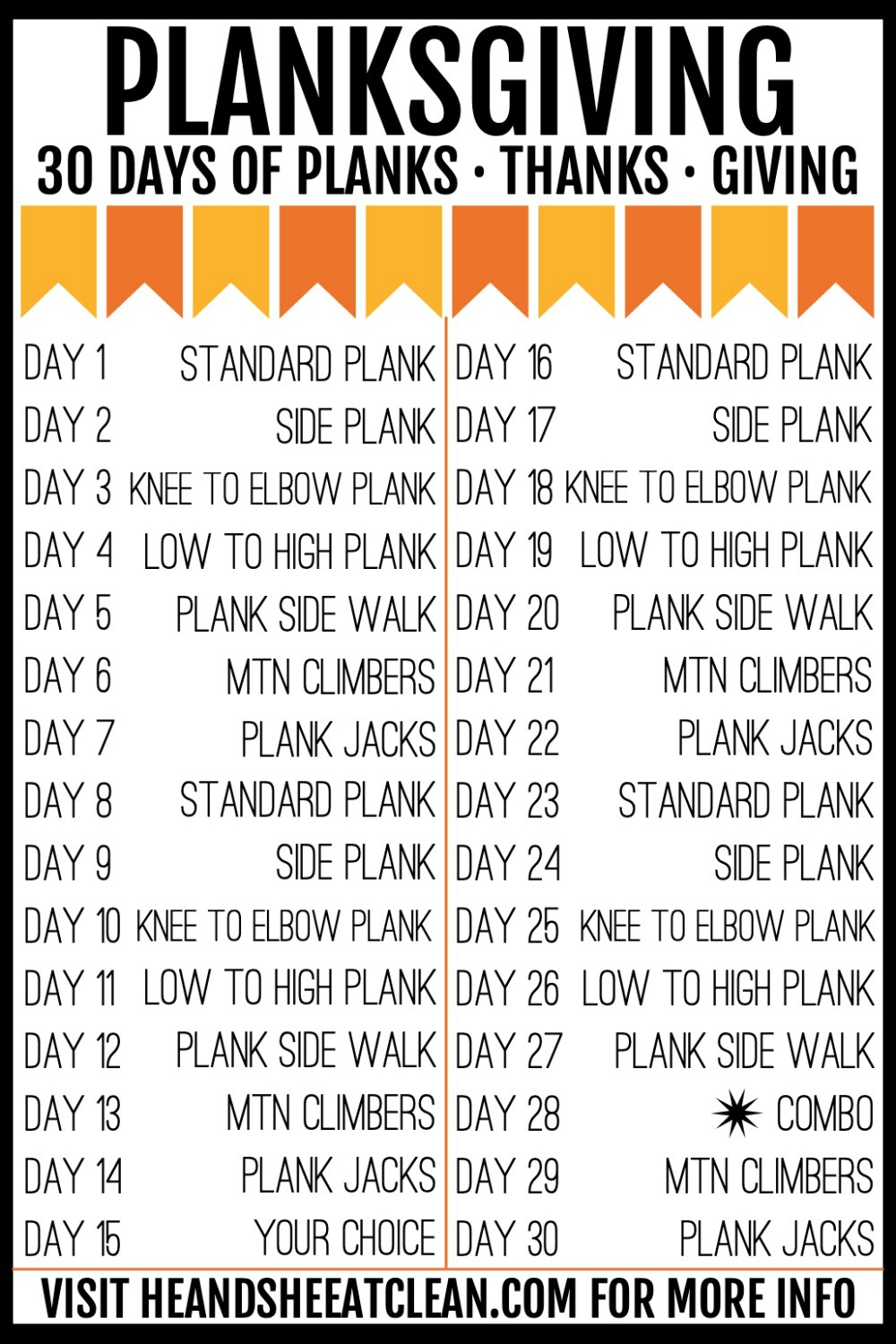 Planksgiving 30-day plank, thanks, and giving challenge with challenge listed