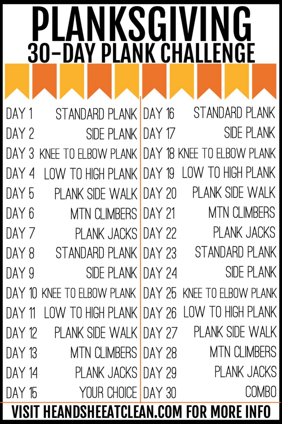 chart of 30 days of planks fitness challenge
