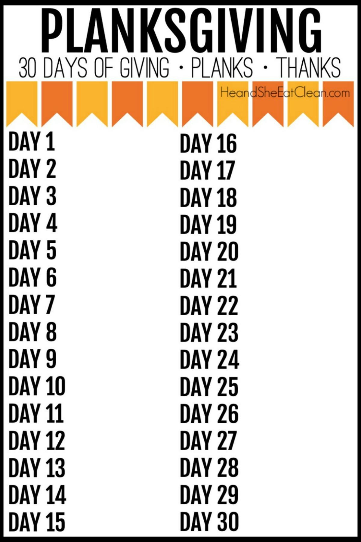 30 days of thanks & giving blank calendar list