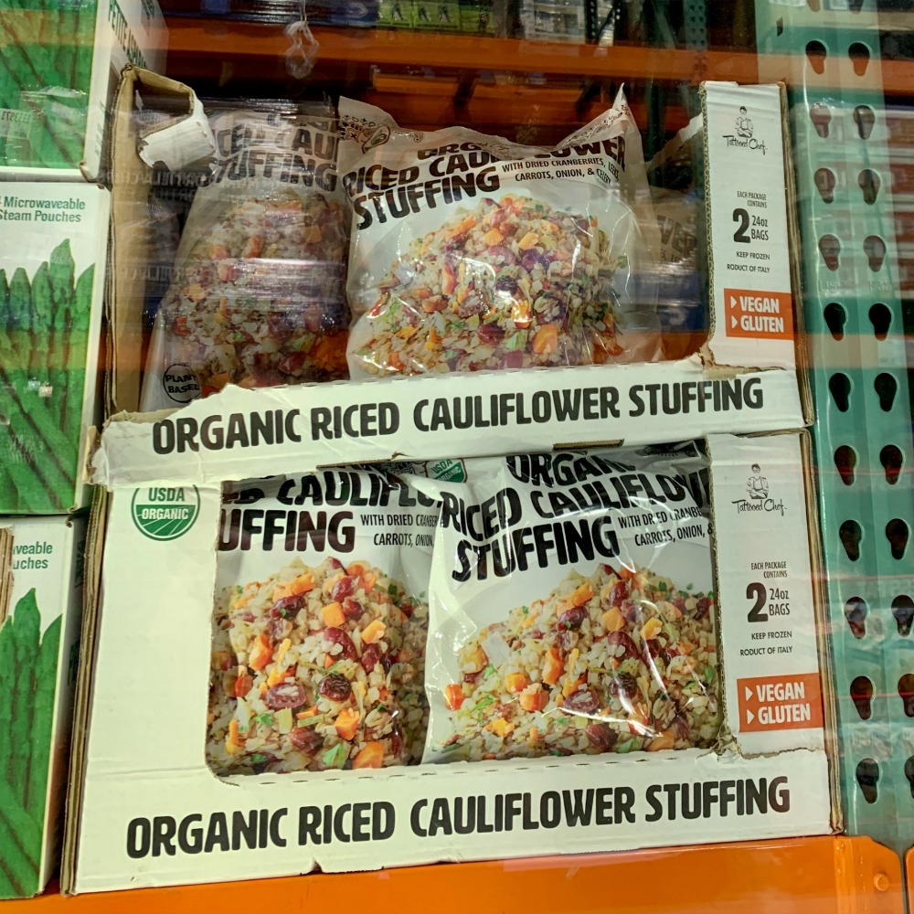 bags of Organic Riced Cauliflower stuffing from Costco