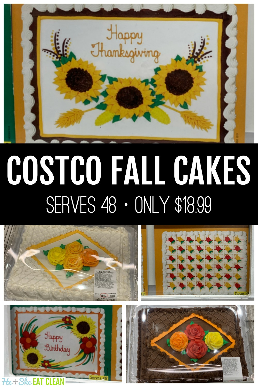 collage of Costco fall and Thanksgiving cakes