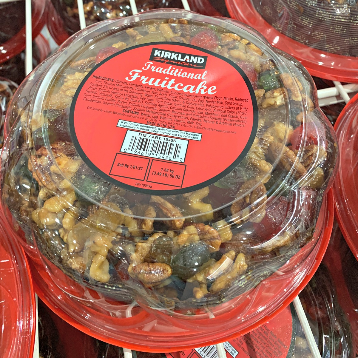traditional fruitcake in a container at Costco