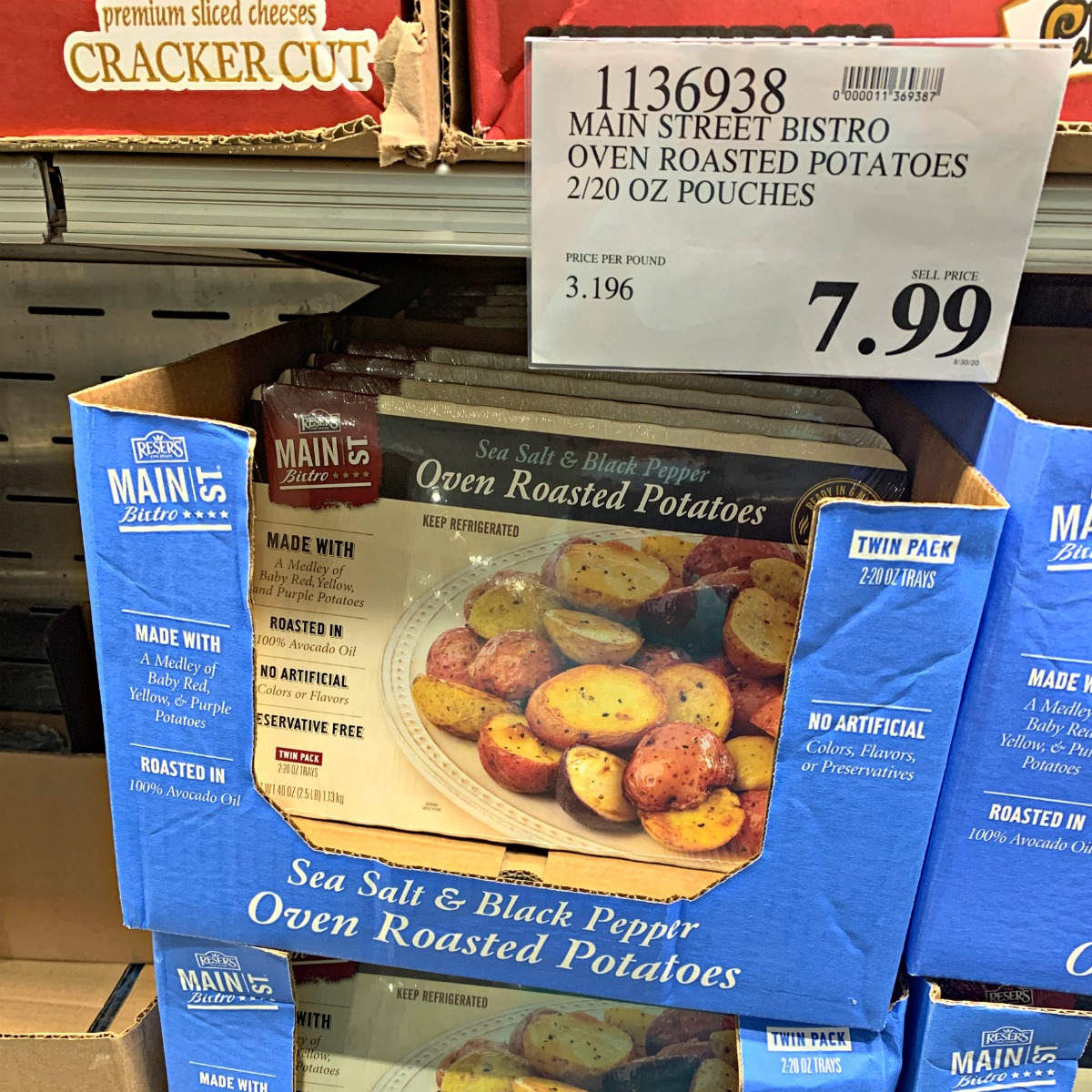 oven roasted potatoes in a container at Costco