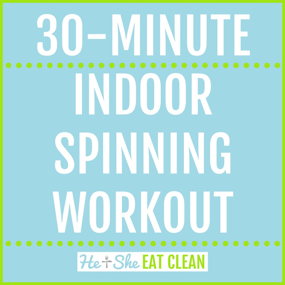 text reads 30-minute indoor spinning workout
