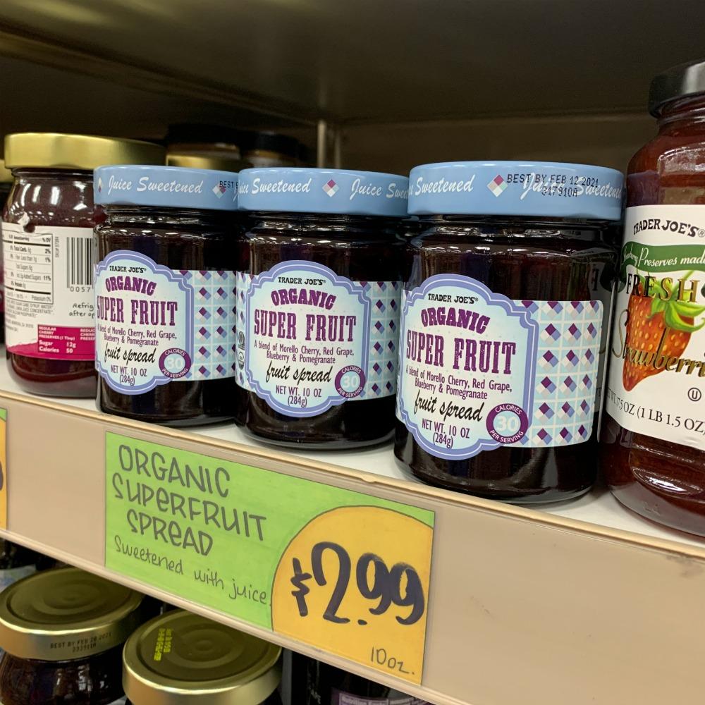 three jars of Trader Joe's organic super fruit fruit spread