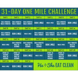 one mile per day challenge calendar square image