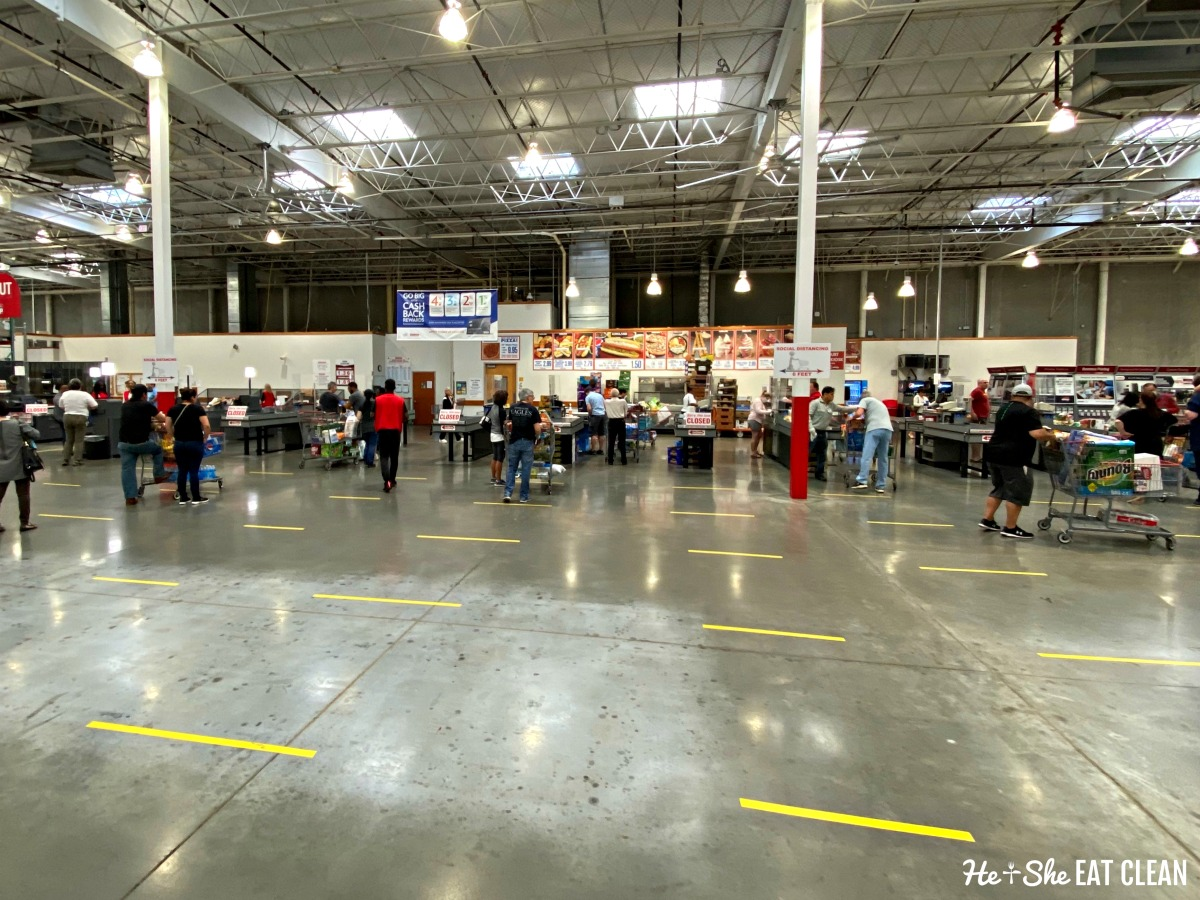 image of the inside of Costco with checkout lines 6 feet apart