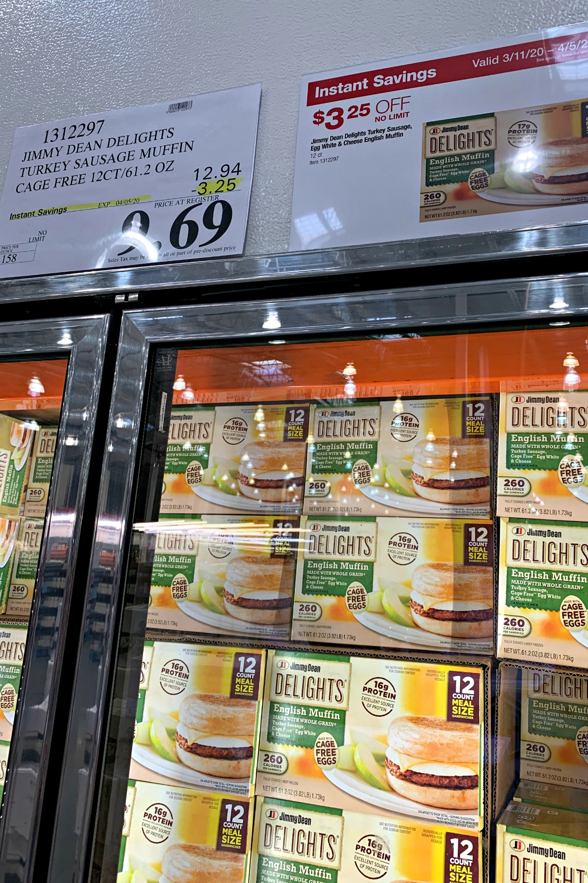 Jimmy Dean Cage Free Turkey Sausage Muffins in freezer section at Costco
