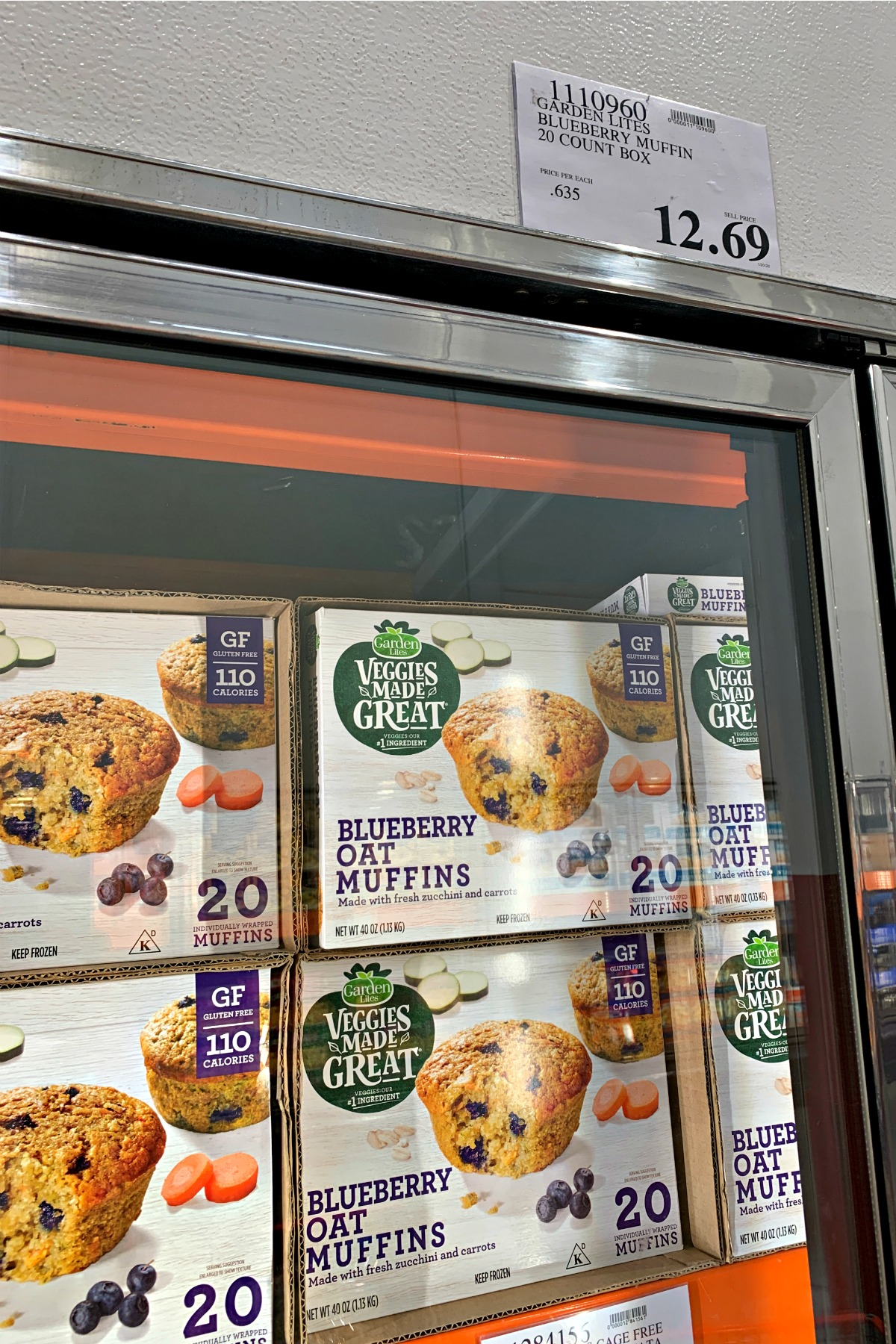 Blueberry Oat Muffins box in the freezer section at Costco