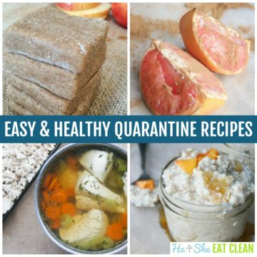 collage of 4 recipe photos with text that reads easy & healthy quarantine recipes