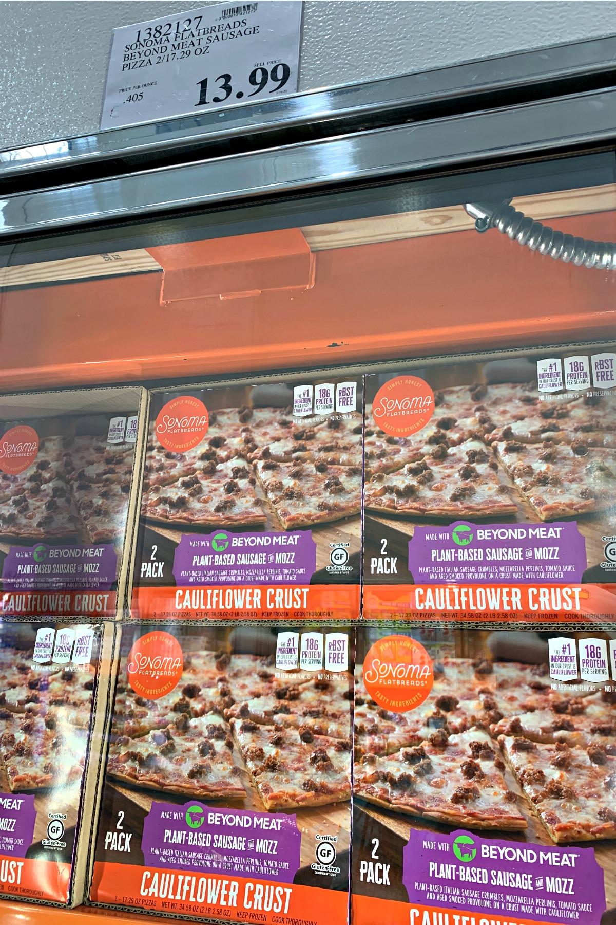 Sonoma Flatbreads frozen pizza in freezer at Costco