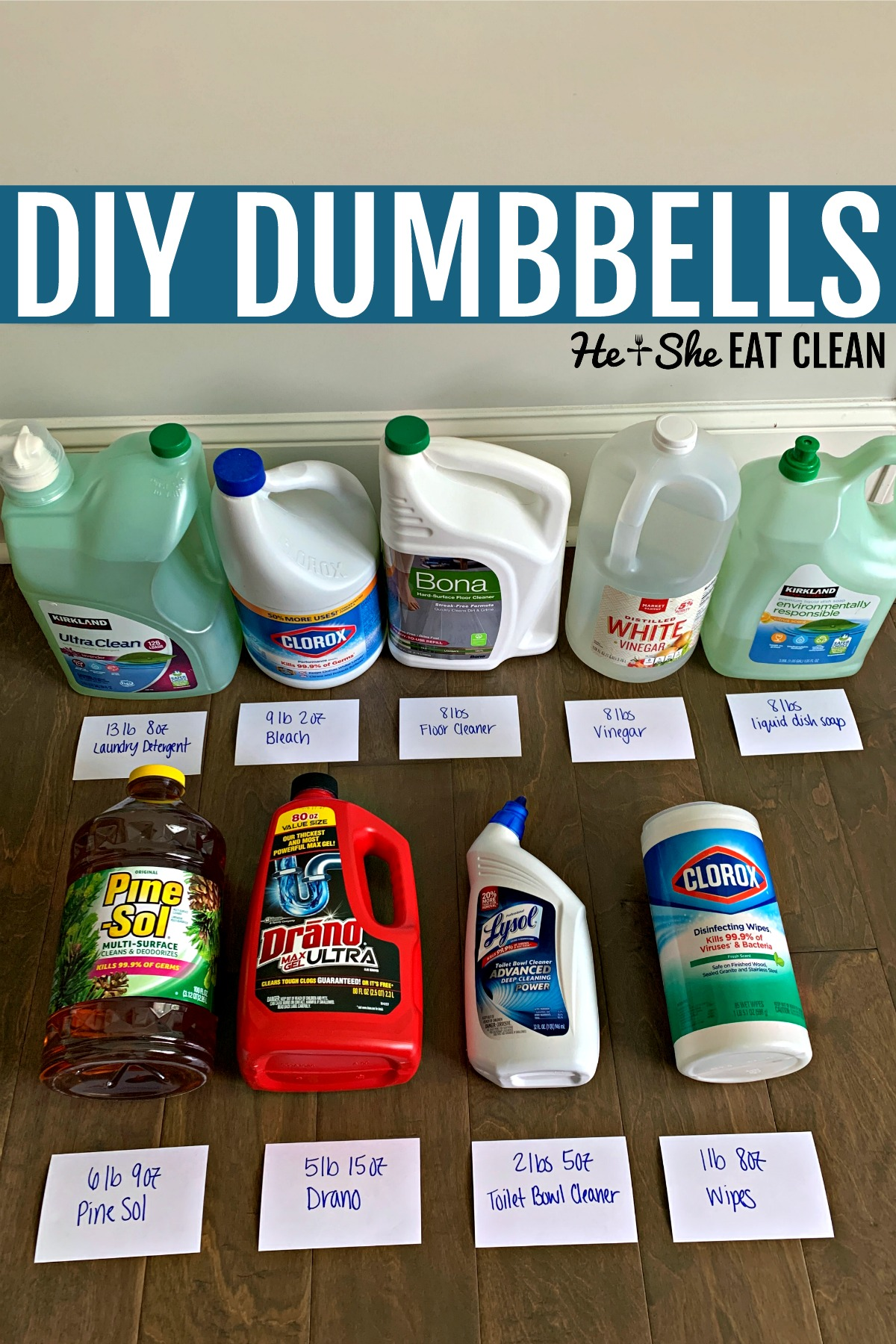 cleaning products with their weight listed for DIY dumbbells