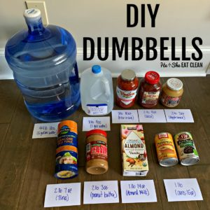 food products labeled with weight for DIY dumbbells square image