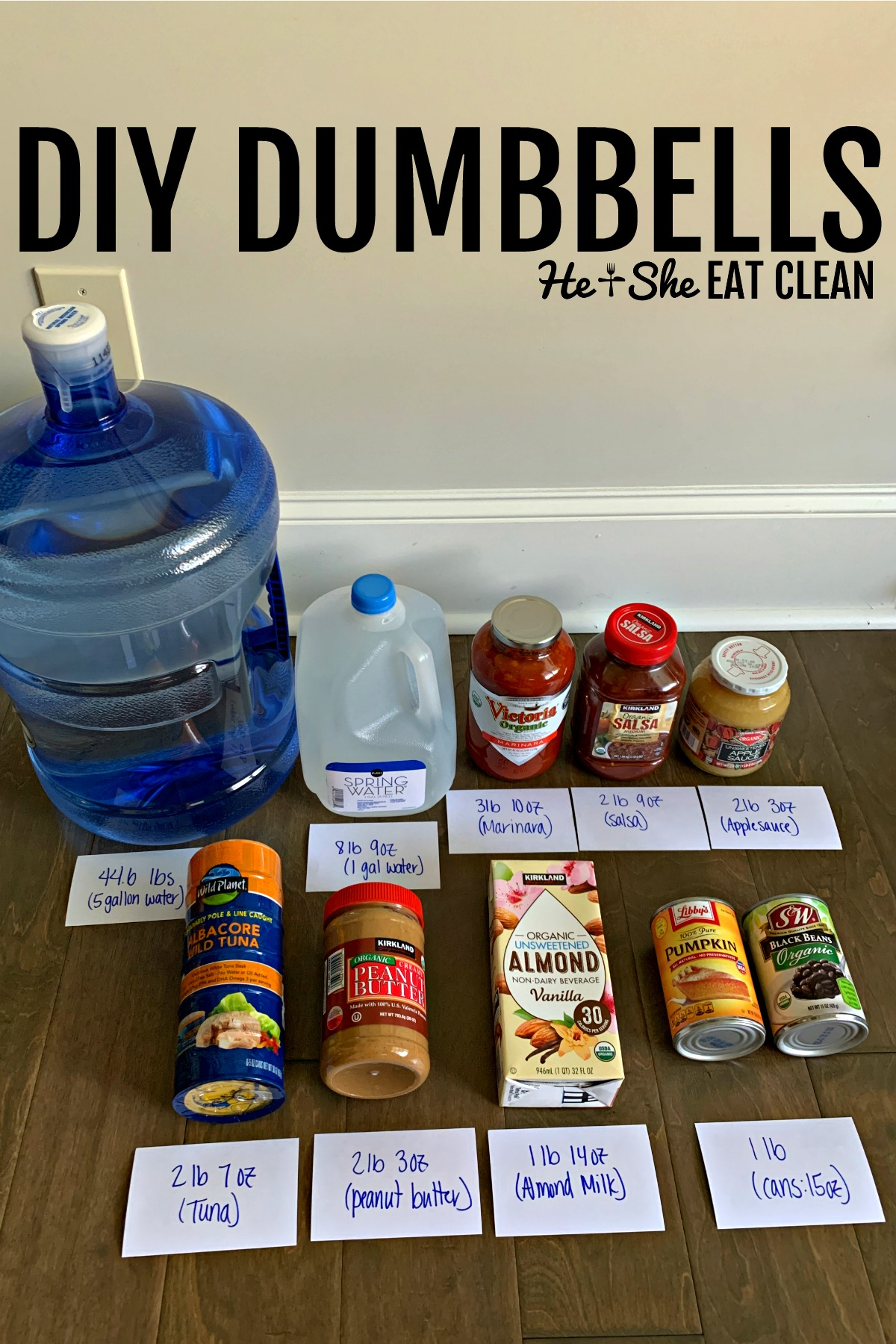 food products labeled with weight for DIY dumbbells