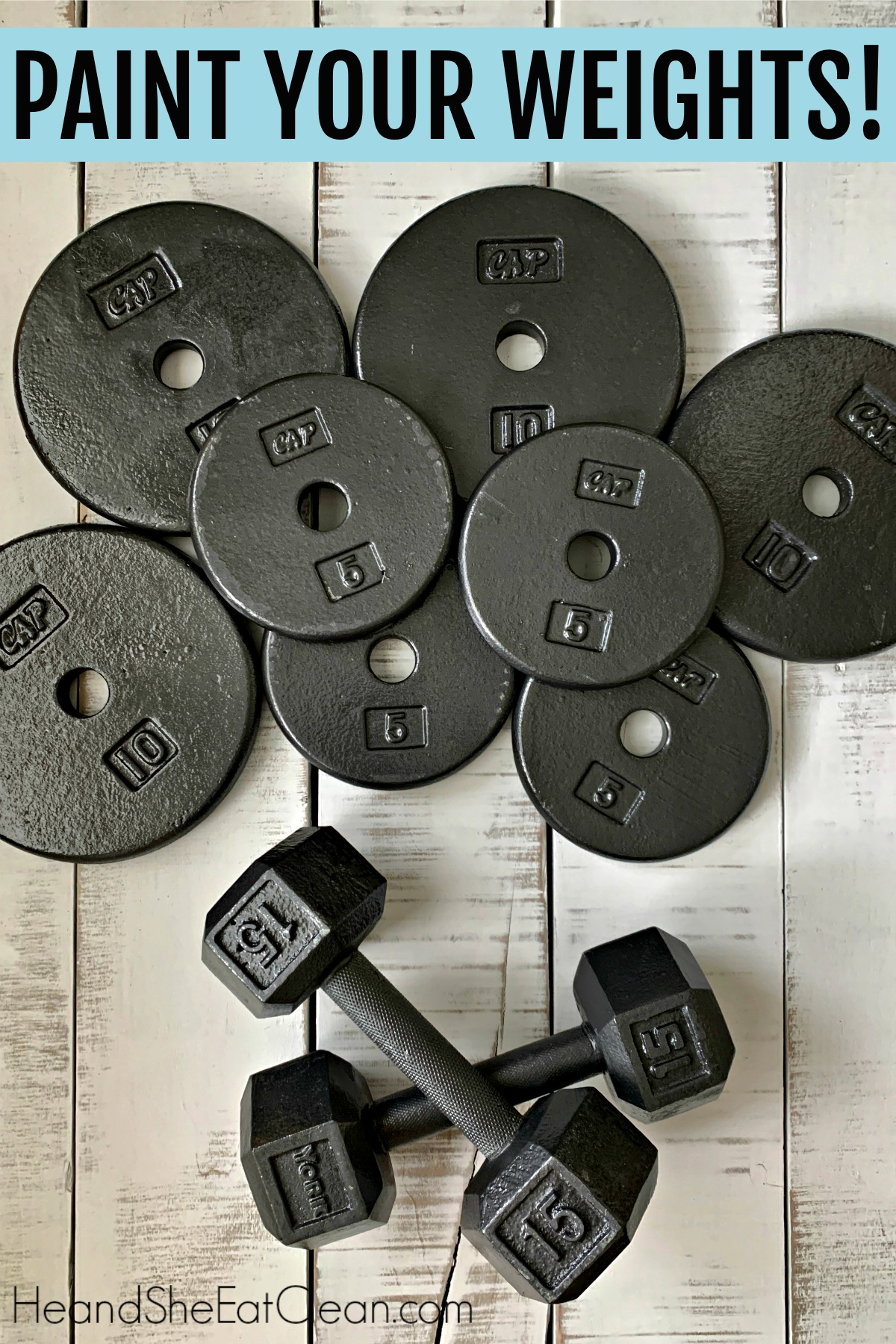 painted weight plates and a pair of painted dumbbells